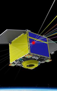 Ilustrace zobrazující precizní mapování energetického kosmického záření mikroteleskopem na bázi detektoru Timepix na nízké oběžné dráze Země.