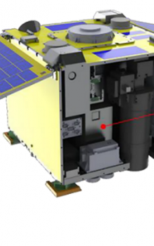 Engineering model of the payload and accommodation in the RISESAT satellite.