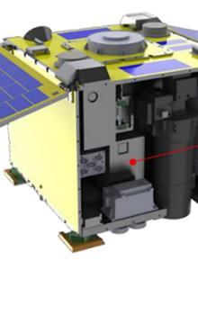 Inženýrský model zařízení a ilustrace jeho umístění na družici RISESAT.