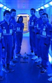 V simulátoru evropského modulu ISS Columbus.