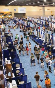 The hall of competition exhibits Intel-ISEF 2014 in Los Angeles.