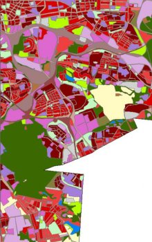 Landuse comparison in the areas of Kunratice, Spořilov and Záběhlice in 2005.