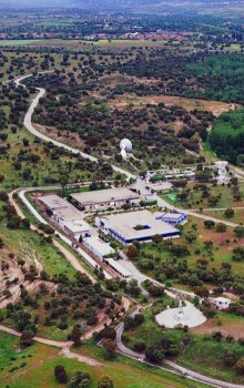 Letecký pohled na centrum ESAC.