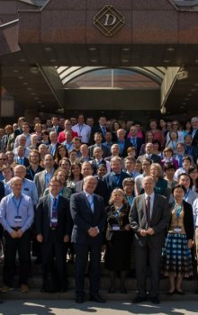 Participants of the Humans in Space Symposium in front of the Hotel Diplomat in Prague.