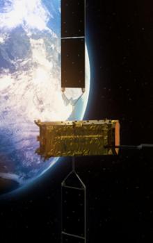 Umělecké ztvárnění družice Alphasat.