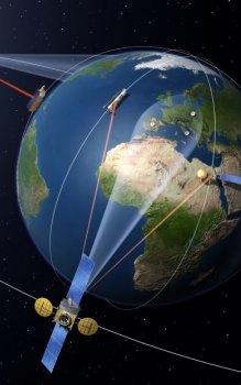 Umělecké ztvárnění systému EDRS (European Data Relay System).