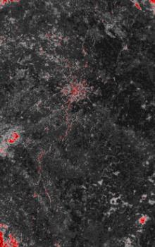 Radarový družicový snímek ASAR s klasifikovanou sněhovou pokrývkou ze dne 24. března 2009.