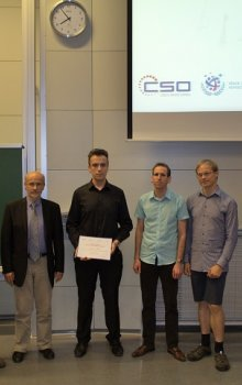 The winner of the Czech Space Competition 2015, Marek Novák (in the middle) together with the organizers.