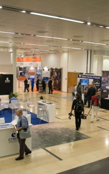 One of the congress exhibition areas Jerusalem's congress center with booth of the French space agency, CNES.