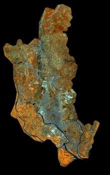 Mozaika družicových snímků Dháka, Bangladéš.
