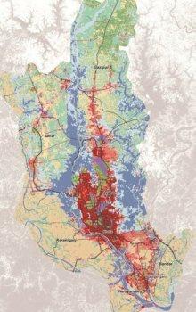 Landuse pro oblast Dháky v roce 2003.