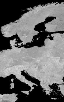 Mozaika z radarových snímků senzoru ASAR z družice Envisat vytvořená na ESA G-POD.
