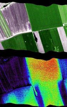 Ukázka fluorescence různých typů vegetace pomocí leteckého DPZ senzorem Hyplant v rámci příprav na družicovou misi FLEX.