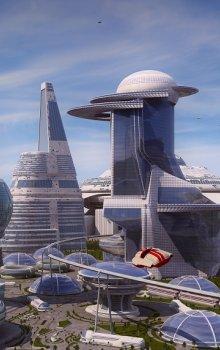 Ilustrativní zobrazení města budoucnosti.