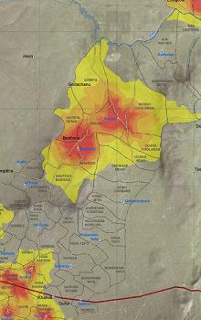 Mapový produkt pro oblast Etiopie.