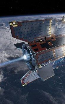 Simulace družice GOCE na oběžné dráze.