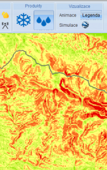 Web portal of Project FLOREO - slope of terrain in area of Krkonoše mountains is depicted.