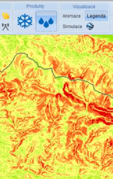 Webový portál projektu FLOREO - vykreslen terén Krkonoš.