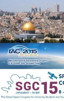 IAC 2015 a SGC 2015 v Jeruzalémě. (Zdroj: IAF, SGAC, Wikimedia)