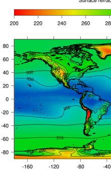 World map of surface refractivity quantile corresponding to 50% of time.