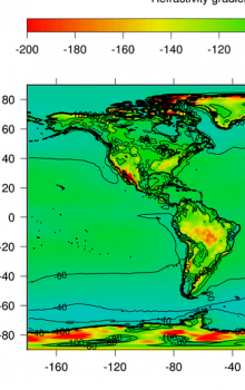 World map of surface refractivity quantile corresponding to 10% of time.