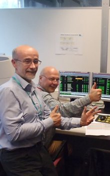 Moment of joy after the succesful unlocking of all three microaccelerometers. Left: Radek Peřestý - project manager; Right: Jiří Kraus - chief project engineer.