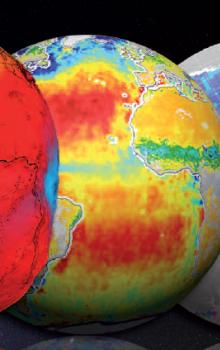 Ilustrativní zobrazení dat z misí Earth Explorer.