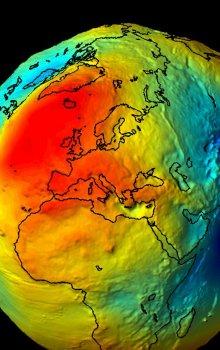 Model gravitačního pole Země odvozený z dat GOCE.