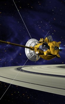 Cassini-Huygens spacecraft near Saturn.