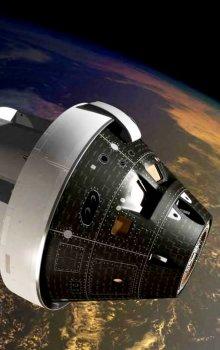 Ilustrace kosmické lodi Orion při testovacím letu.