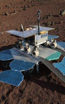 Pozemní testování roveru a přistávací platformy ExoMars 2018.