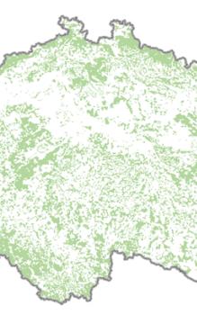 Zájmové území pro testování indikátoru stavu lesních porostů v roce 2014