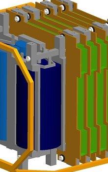 Vnitřní struktura se systémem pro určení prostorové orientace, kombinovaným blokem se superkapacitory a akumulátory a deskami s elektronickými systémy.