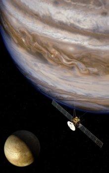 Ilustrace sondy JUICE, která bude zkoumat Jupiter a jeho měsíce.