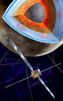 Ilustration of the ESA JUICE planetary probe, which will investigate Jupiter and its moons