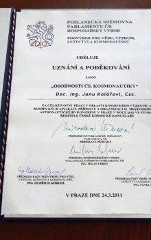 Ocenění Janu Kolářovi za celoživotní práci.
