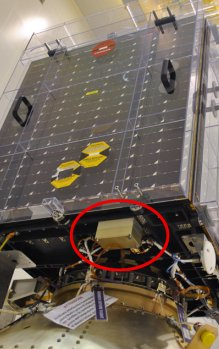 ESA Proba-V satellite with SATRAM instrument (circled in red)