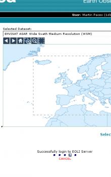 Příklad webového rozhraní pro výběr zájmové oblasti a časového intervalu pro zpracování snímků ASAR.