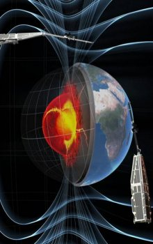 Visualisation of Earth's magnetic field together with constelation of Swarm satellites.