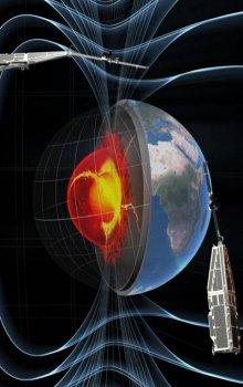 Vizualizace magnetického pole Zeměs s konselací družic Swarm.