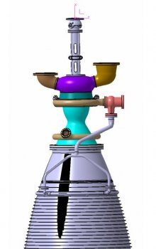 Geometric model of a rocket engine. The project dealt with the optimization of grey bottom part.