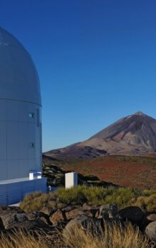 ESA´s Optical Ground Station at Tenerife with Pico del Teide in the background.