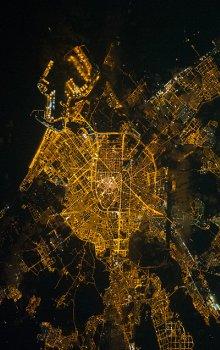 Noční snímek Valencie z Mezinárodní kosmické stanice.
